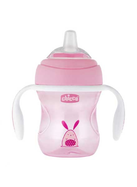 Chicco Transition Cup With Soft Silicone Spout Bunny Print Pink - 200ml
