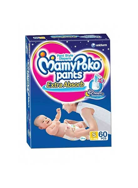 MamyPoko Extra Absorb Pant Style Diapers Small - 60 Pieces