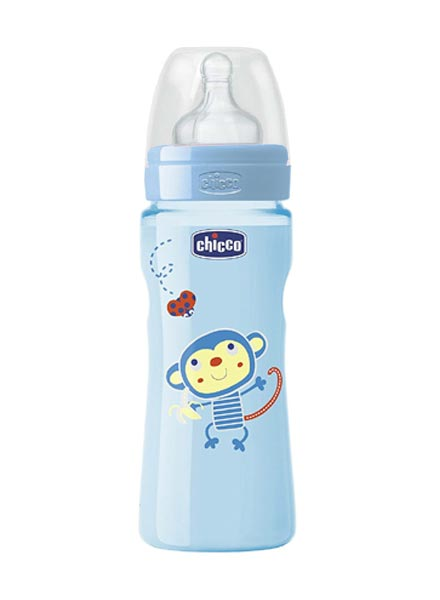 Chicco Well Being Feeding Bottle Blue Fast Flow- 330ml