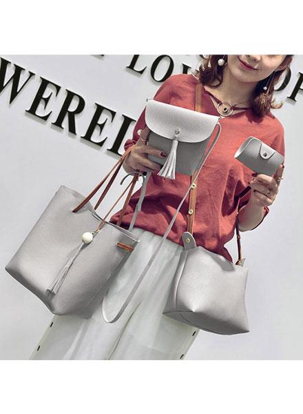 (4pcs)Set Fashion Women Bag Tassel Pure PU Leather Composite Bag