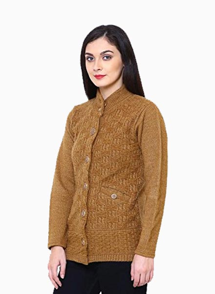 Matelco Women's Short Woollen Hi-Neck Cardigan with Pockets