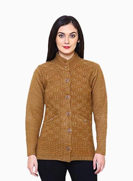 Matelco Women's Short Woollen Hi-Neck Cardigan with Pockets