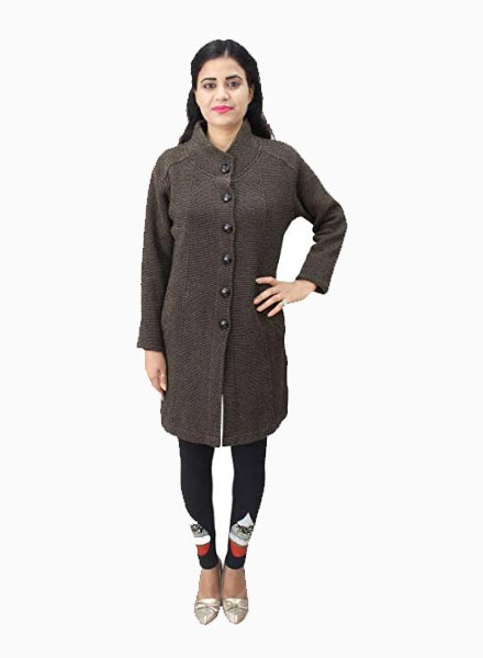 Matelco Women's Button Coat With Pocket Cardigan- Brown