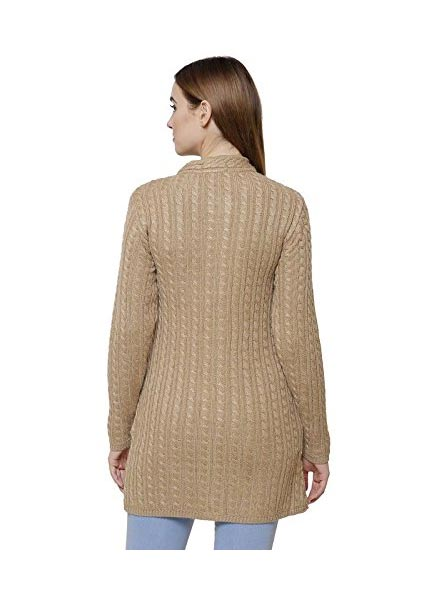 Matelco Black Embroidered Woollen Cardigans With Pockets- LT Brown