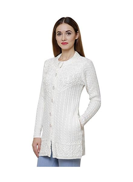 Matelco Black Embroidered Woollen Cardigans With Pockets- White