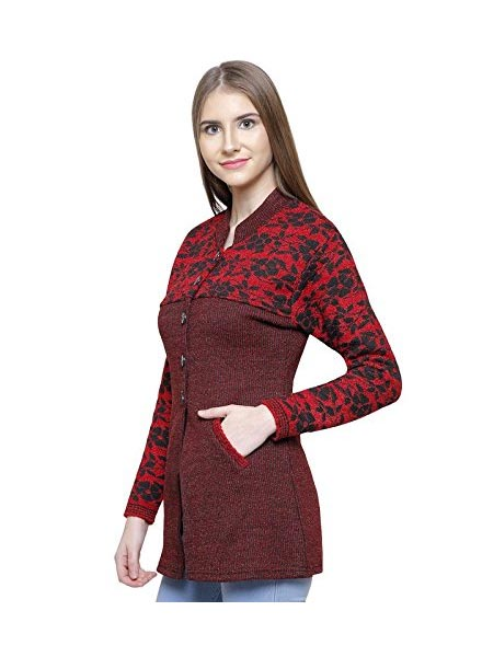 Matelco Brown Wool Buttoned Coat/Cardigan with Pockets for Winters-Maroon
