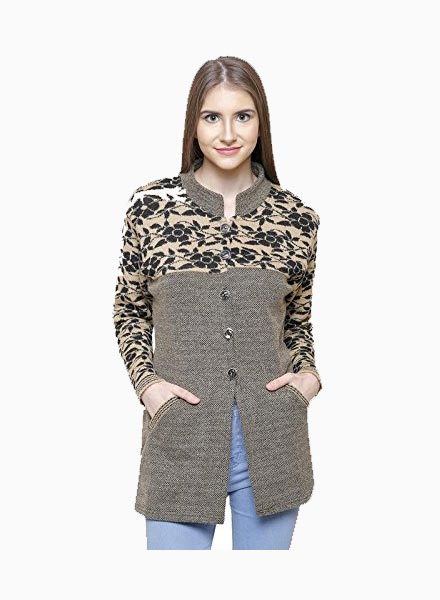 Matelco Brown Wool Buttoned Coat/Cardigan with Pockets for Winters-Grey Brown