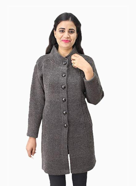 Matelco Women's Button Coat with Pocket Cardigan-Grey