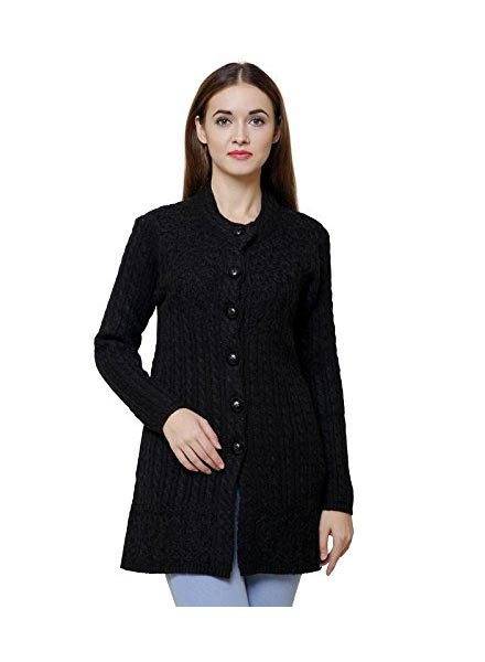 Matelco Black Embroidered Woollen Cardigans with Pockets