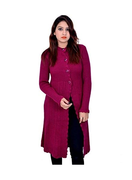 Matelco Women  Woollen Purple Long Shrug