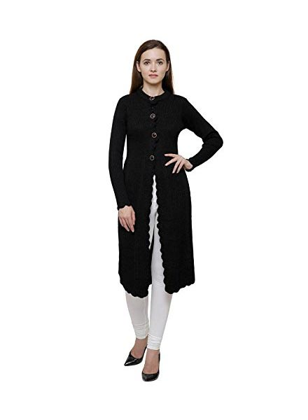 Matelco Black Woollen Long Shrug Style Cardigan for Women
